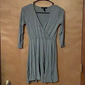 Gray 3/4 Sleeve Wrap dress